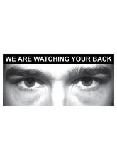 Eye Photo Sign We Are Watching Your Back *For use with P,J,N Sizes*