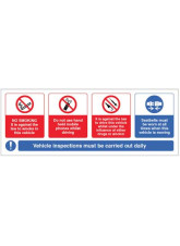 Vehicle sticker - no smoking, mobile phone, drink/drugs - wear seatbelt