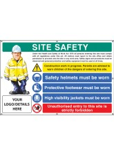 Site Safety, Helmets, Footwear, Hi Vis, Unauthorised Entry, Custom - Banner with Eyelets - 1270 x 810mm