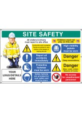 Site Safety, Multi-message, Deep Excavations, Custom - Banner with Eyelets - 1270 x 810mm