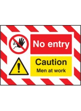 Door Screen Sign- No Entry Caution Men At Work - 600 x 450mm