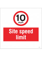 10mph Site Speed Limit - Site Saver Sign - 400 x 400mm