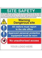 Site Safety Board, Dangerous Site, Visitors, PPE, Access - Site Saver Sign 1220 x 1220mm