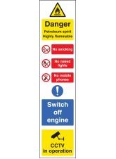 Danger Petroleum Spirit (Multi-Message) - Roll of 100 400mm