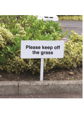 Please Keep Off the Grass - White Powder Coated Aluminium 450 x 150mm (800mm Post)
