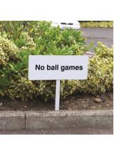 No Ball Games - White Powder Coated Aluminium 450 x 150mm (800mm Post)