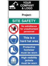 Site Safety Board with Logo and Project - 600 x 1200mm