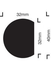 Impact Protection - Semi-circular 40/32 - Self Adhesive