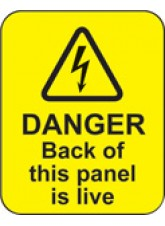 Danger Back of this Panel Is Live Labels