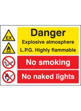 Explosive Atmosphere LPG Highly Flammable No Smoking/naked Light